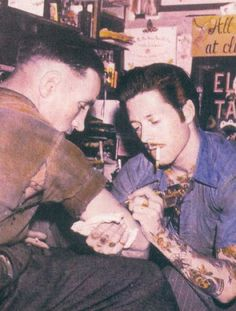Samuel Steward tattooing as Phil Sparrow