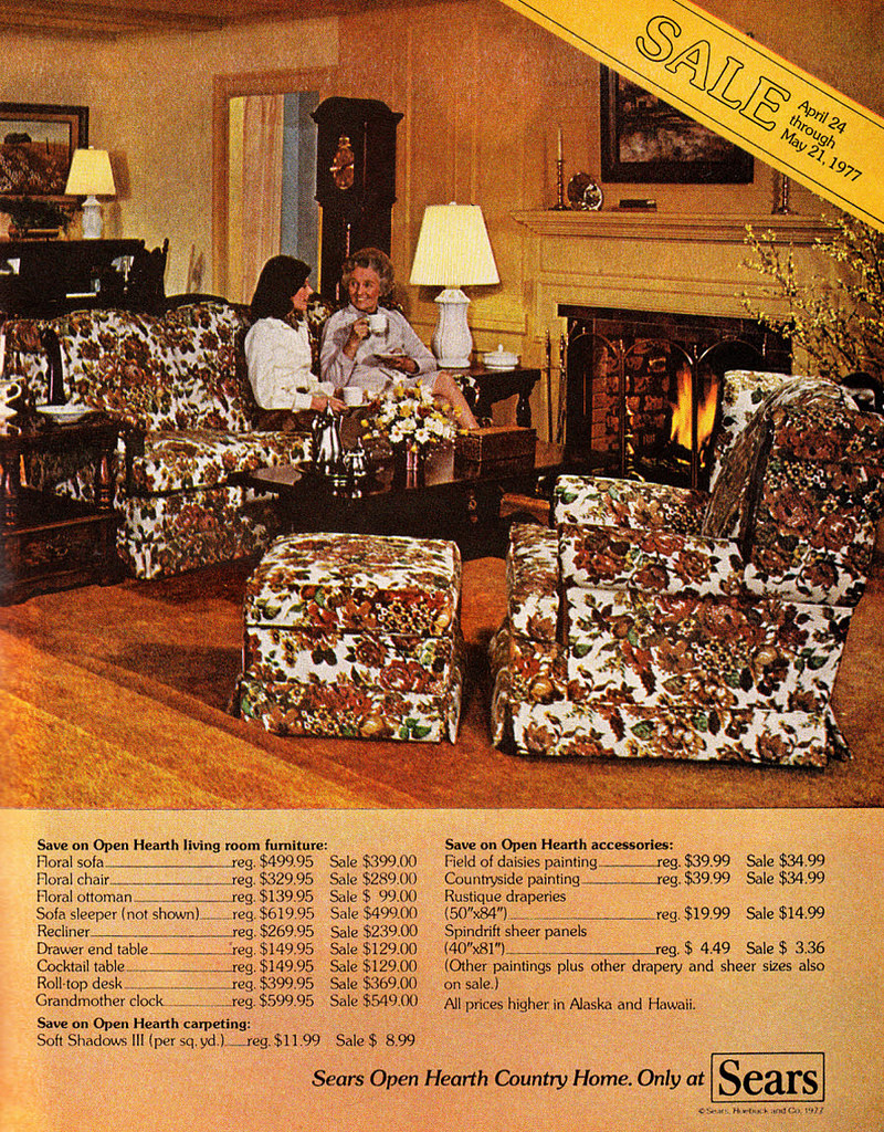 Sears furniture in catalog, 1970s