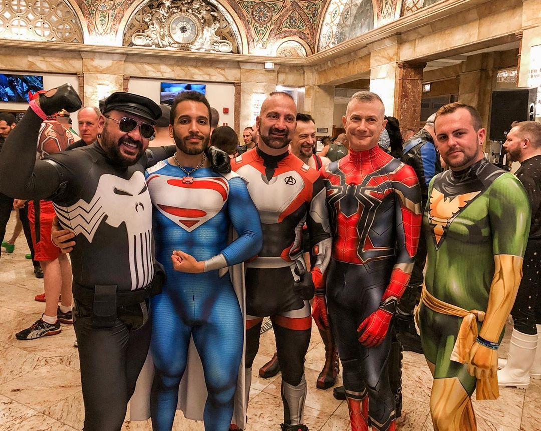 Men in superhero fetish attire at IML
