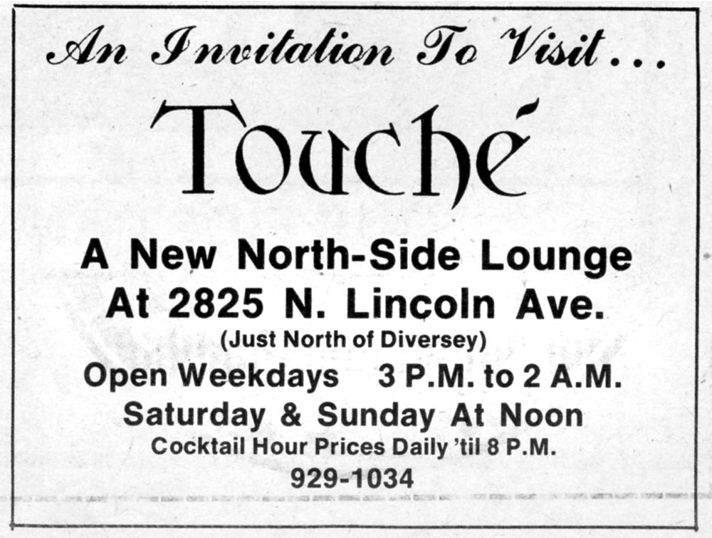 Vintage ad for Touche at Lincoln location