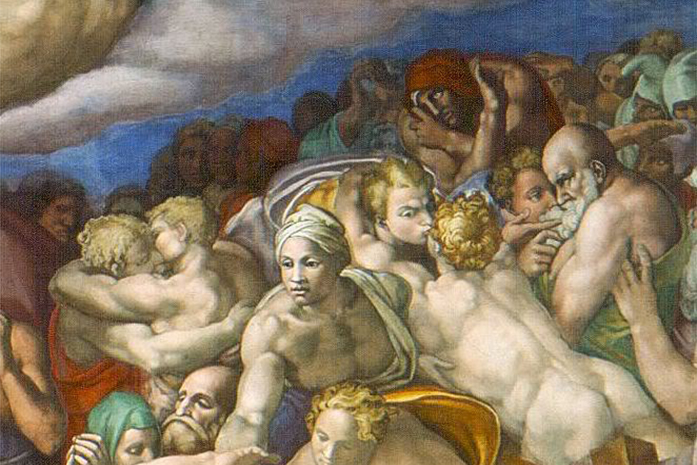 The Last Judgement kiss close up