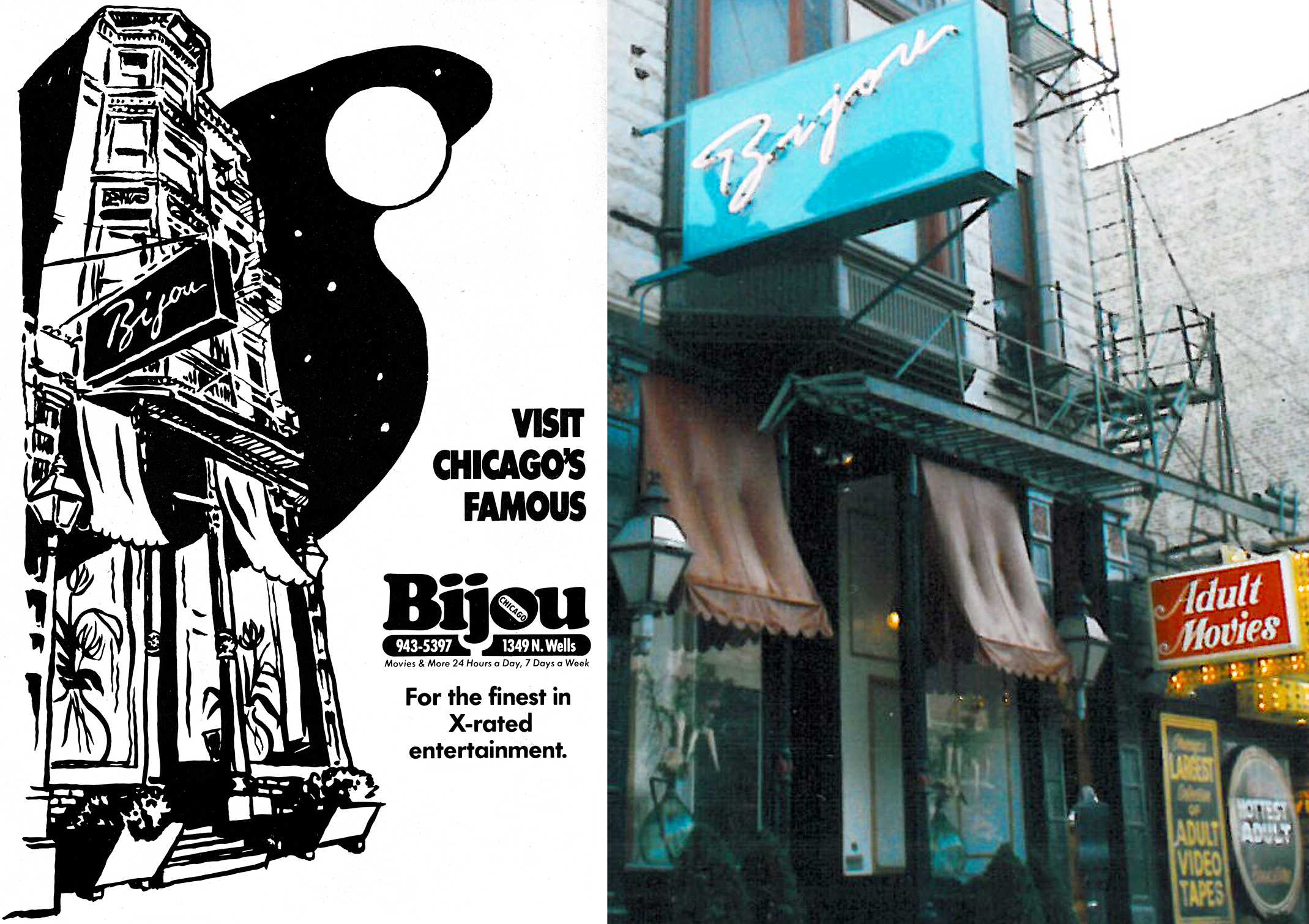Vintage Bijou Theater ad and exterior photo