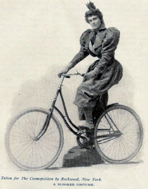 Victorian woman on bicycle, 1895
